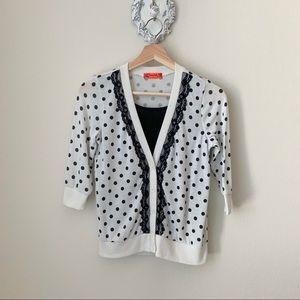 Spoiled white cardigan black polka dots & details